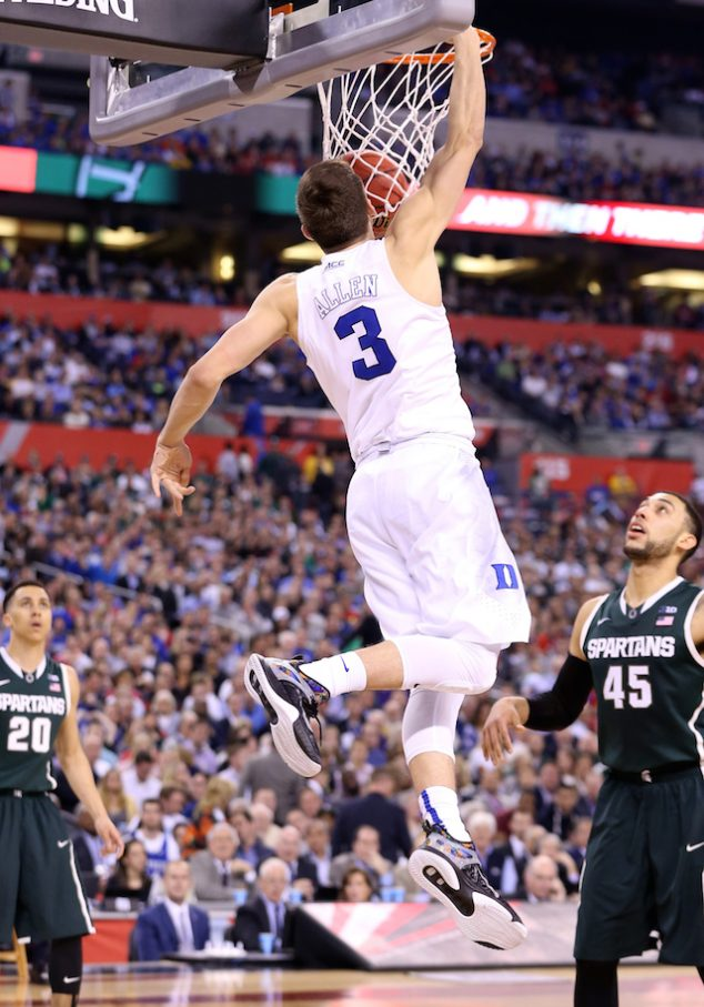 INDIANAPOLIS, IN - APRIL 04: Grayson Allen #3 of the Duke Blue Devils goes up for a dunk in the second half against the Michigan State Spartans during the NCAA Men's Final Four Semifinal at Lucas Oil Stadium on April 4, 2015 in Indianapolis, Indiana. (Photo by Andy Lyons/Getty Images)