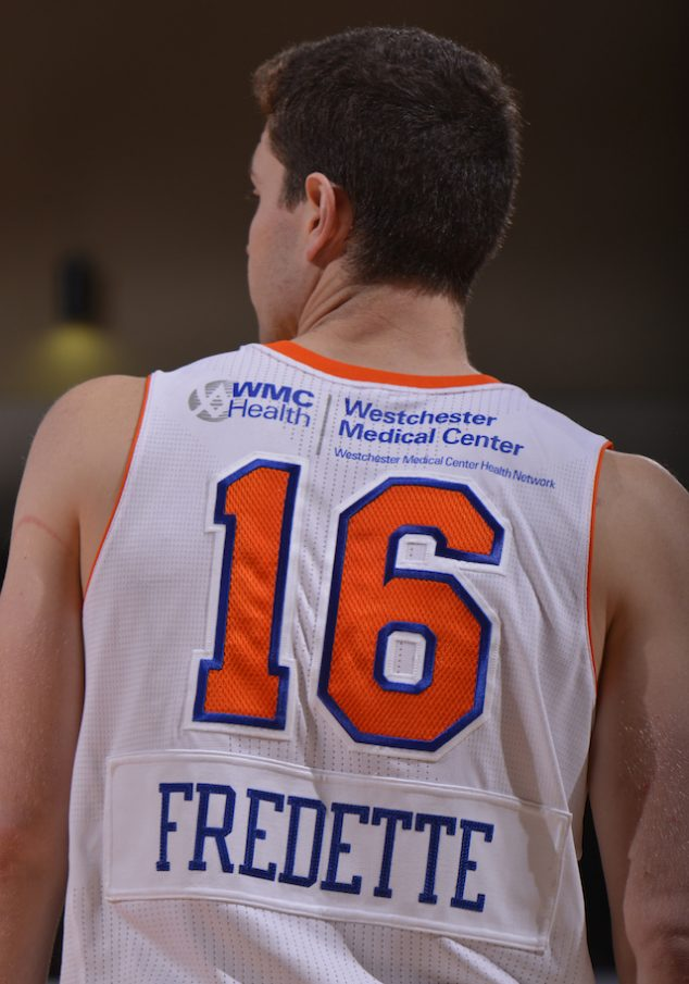 WESTCHESTER, NY - NOVEMBER 30: Jimmer Fredette #16 of the Westchester Knicks stands on the court during the game against the Grand Rapids Drive at the Westchester County Center on November 30, 2015 in Westchester, New York. NOTE TO USER: User expressly acknowledges and agrees that, by downloading and/or using this Photograph, user is consenting to the terms and conditions of the Getty Images License Agreement. Mandatory Copyright Notice: Copyright 2015 NBAE (Photo by David Dow/NBAE via Getty Images)