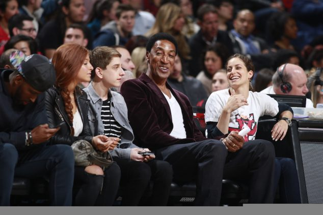 CHICAGO, IL - APRIL 13: Hall of fame Scottie Pippen of the Chicago Bulls looks on against the Philadelphia 76ers on April 13, 2016 at the United Center in Chicago, Illinois. NOTE TO USER: User expressly acknowledges and agrees that, by downloading and or using this Photograph, user is consenting to the terms and conditions of the Getty Images License Agreement. Mandatory Copyright Notice: Copyright 2016 NBAE (Photo by Jeff Haynes/NBAE via Getty Images)