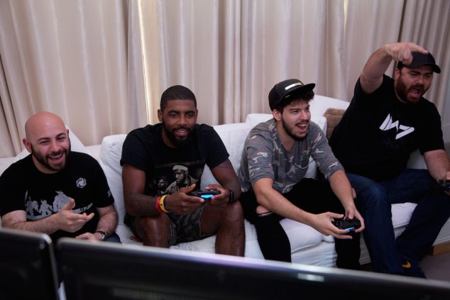 "SAN FRANCISCO, CA - JULY 12: (L-R) YouTubers Joseph ""Swiftor"" Alminawi, NBA Champ Kyrie Irving, Andre ""Typical Gamer,"" and Hike the Gamer livestream while playing ""Call of Duty: Black Ops 3 Descent"" on July 12, 2016 in San Francisco, California. (Photo by Kelly Sullivan/Getty Images for Activision)"