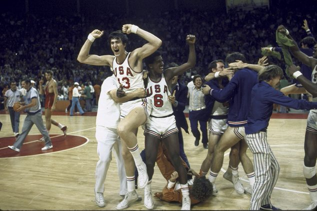 The US basketball team prematurely erupting with celebration at the Summer Olympics. The official ordered three seconds replayed and the Soviets scored defeating the US. (Photo by Rich Clarkson/The LIFE Images Collection/Getty Images)