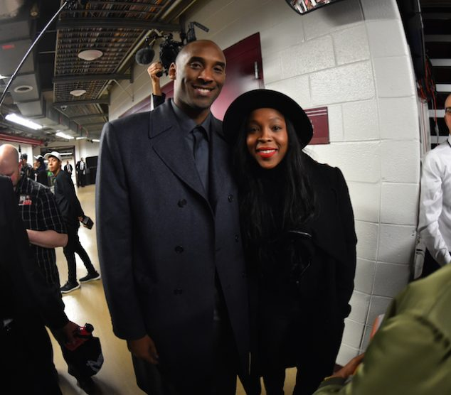 CHICAGO, IL - FEBRUARY 21: Kobe Bryant #24 of the Los Angeles Lakers smiles for a picture with Cappie Pondexter of the Chicago Sky after the game against the Chicago Bulls on February 21, 2016 at the United Center in Chicago, Illinois. NOTE TO USER: User expressly acknowledges and agrees that, by downloading and or using this Photograph, user is consenting to the terms and conditions of the Getty Images License Agreement. Mandatory Copyright Notice: Copyright 2016 NBAE (Photo by Jesse D. Garrabrant/NBAE via Getty Images)