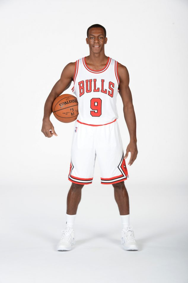CHICAGO, IL - SEPTEMBER 26: Rajon Rondo #9 of the Chicago Bulls poses for a portrait during the 2016-2017 Chicago Bulls Media Day on September 26, 2016 at the Advocate Center in Chicago, Illinois. NOTE TO USER: User expressly acknowledges and agrees that, by downloading and/or using this photograph, user is consenting to the terms and conditions of the Getty Images License Agreement. Mandatory Copyright Notice: Copyright 2016 NBAE (Photo by Randy Belice/NBAE via Getty Images)