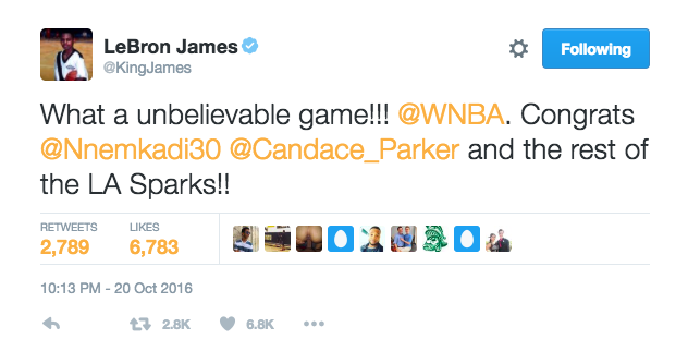 lebron james wnba finals tweet