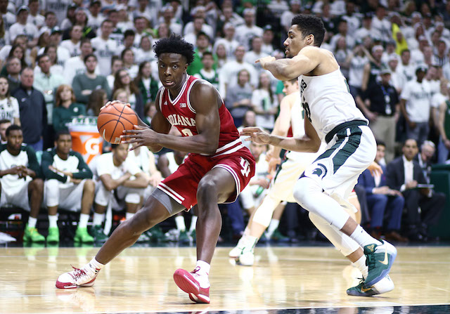 EAST LANSING, MI - FEBRUARY 14: OG Anunoby #3 of the Indiana Hoosiers drives around against Kenny Goins #25 of the Michigan State Spartans in the first half at the Breslin Center on February 14, 2016 in East Lansing, Michigan. (Photo by Rey Del Rio/Getty Images)