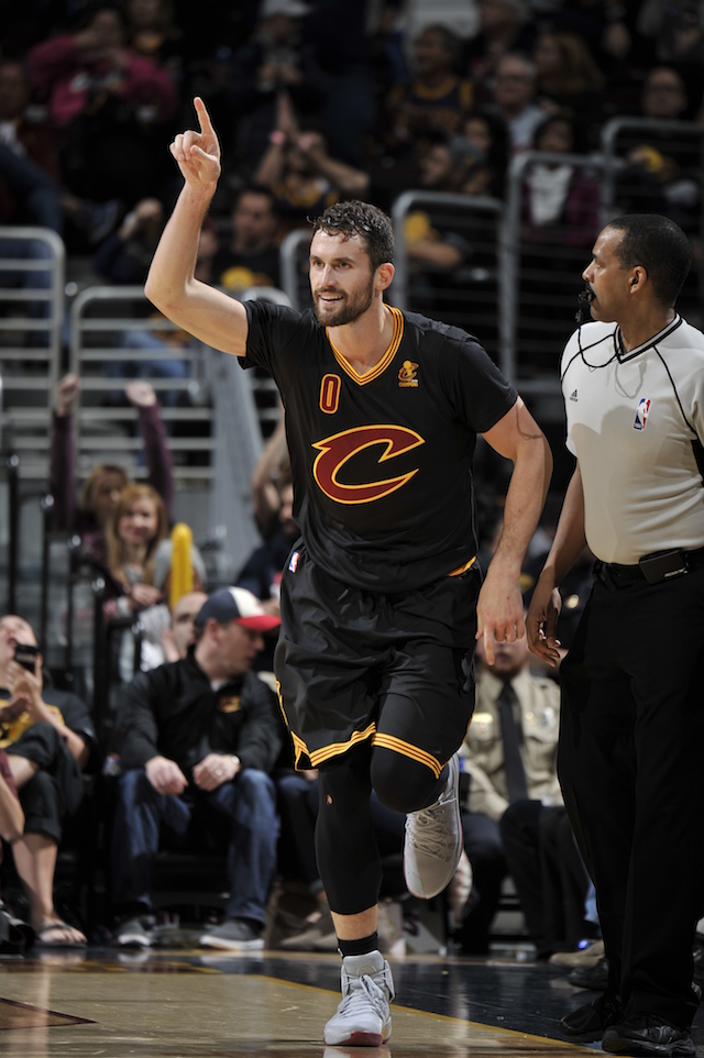 CLEVELAND, OH - OCTOBER 25: Kevin Love #0 of the Cleveland Cavaliers celebrates a three point basket and runs up court against the New York Knicks on October 25, 2016 at Quicken Loans Arena in Cleveland, Ohio. NOTE TO USER: User expressly acknowledges and agrees that, by downloading and or using this photograph, user is consenting to the terms and conditions of the Getty Images License Agreement. Mandatory Copyright Notice: Copyright 2016 NBAE (Photo by David Liam Kyle/NBAE via Getty Images)