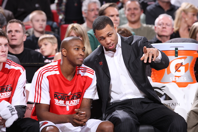 PORTLAND, OR - JANUARY 22: Brandon Roy #7 and Armon Johnson #1 of the Portland Trail Blazers chat during a game against the Indiana Pacers on January 22, 2011 at the Rose Garden Arena in Portland, Oregon. NOTE TO USER: User expressly acknowledges and agrees that, by downloading and or using this photograph, User is consenting to the terms and conditions of the Getty Images License Agreement. Mandatory Copyright Notice: Copyright 2011 NBAE (Photo by Sam Forencich/NBAE via Getty Images)