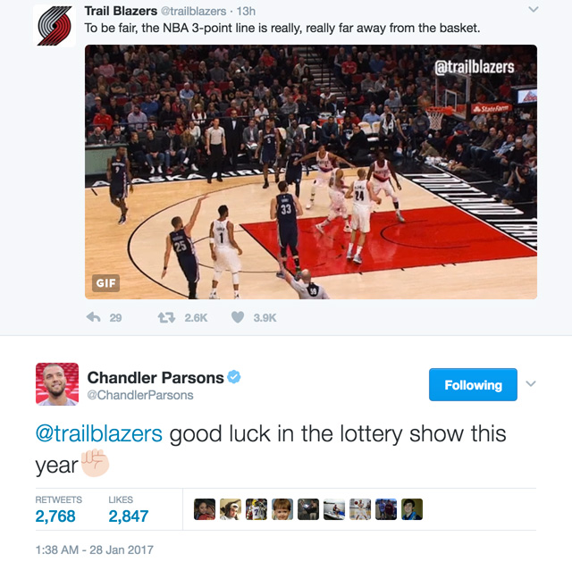 chandler parsons tweet