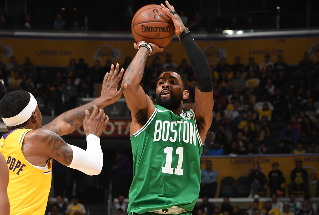 kyrie lakers celtics post up