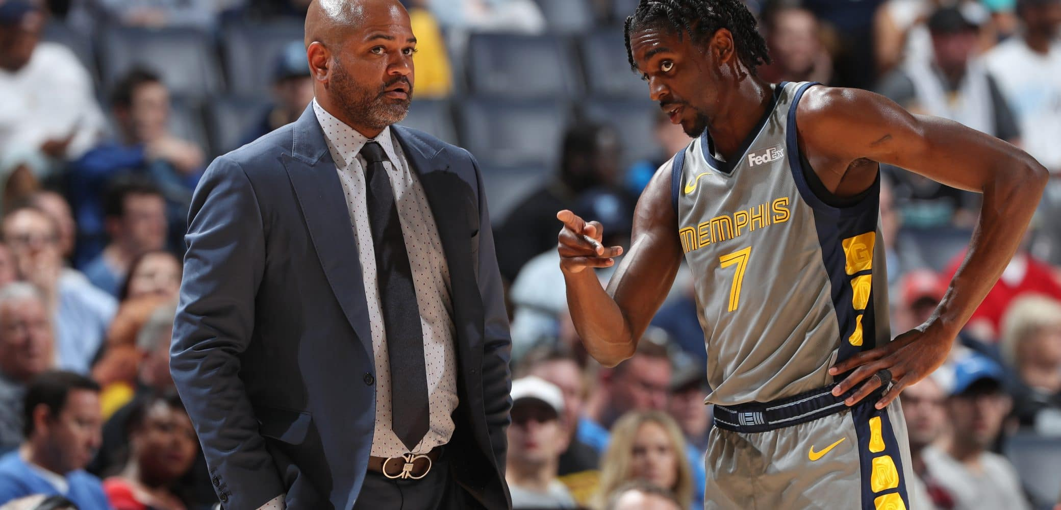 J.B Bickerstaff, Justin Holiday of the Memphis Grizzlies