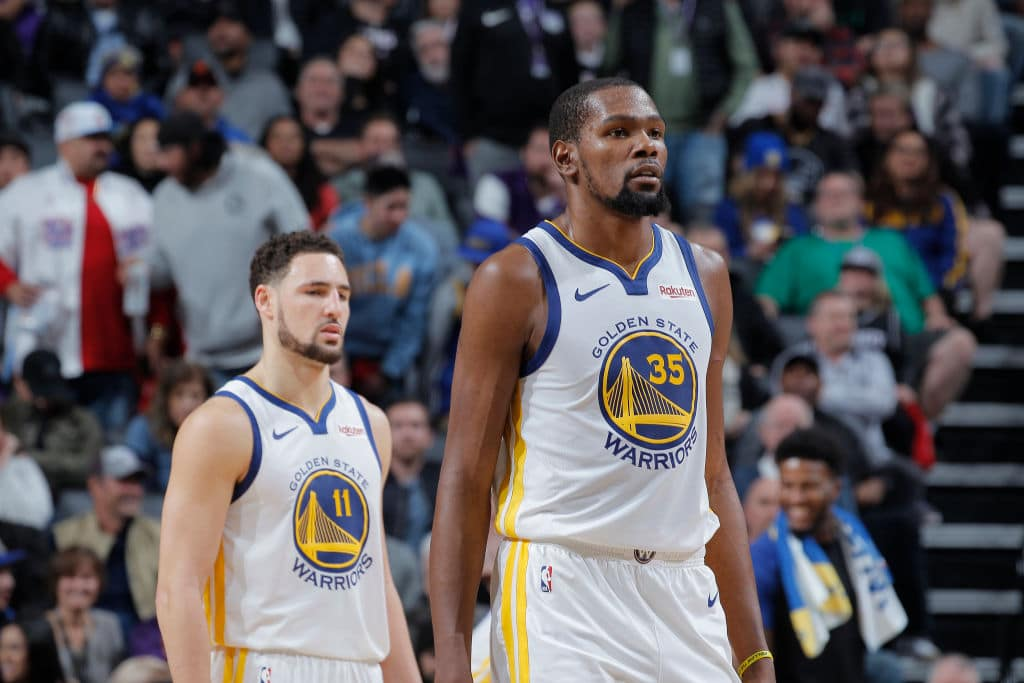 Kevin Durant, Klay Thompson of the Golden State Warriors