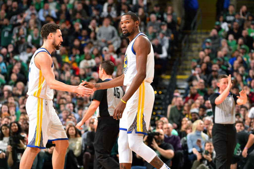 Klay Thompson, Kevin Durant of the Golden State Warriors