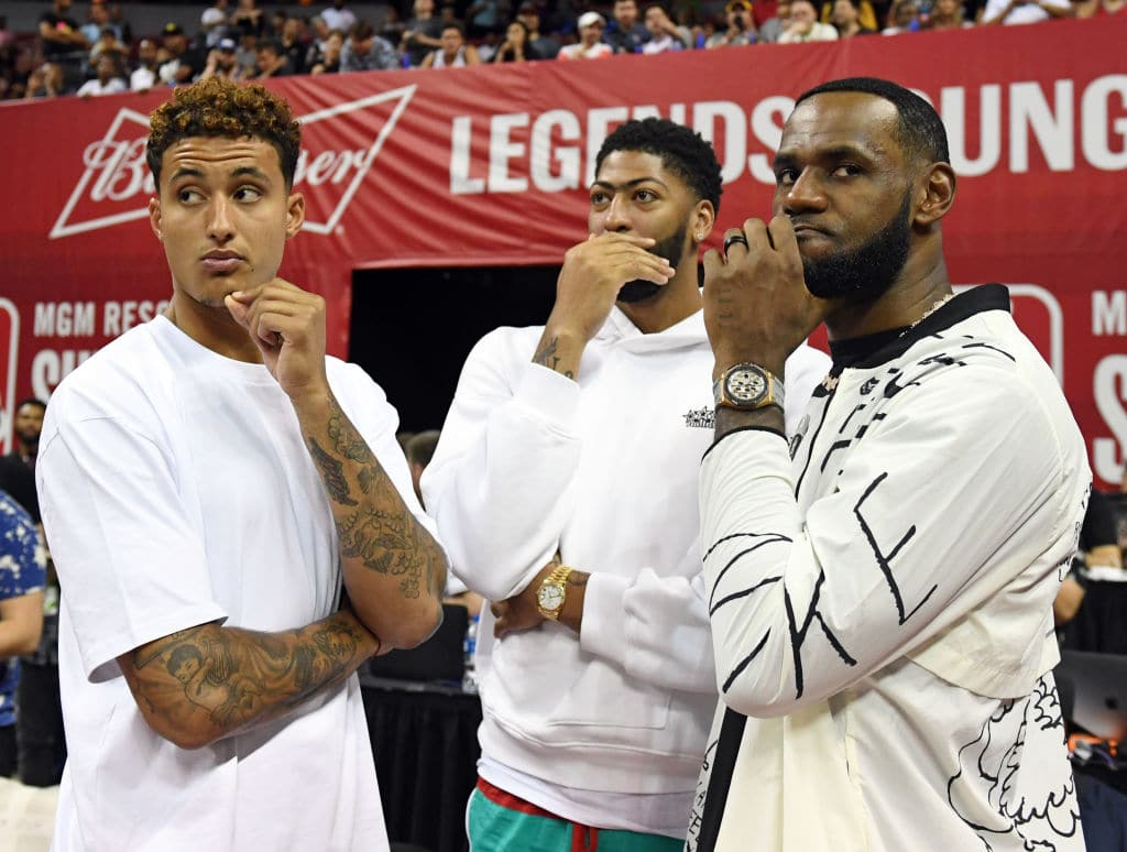 Kyle Kuzma, Anthony Davis and LeBron James of the Los Angeles Lakers