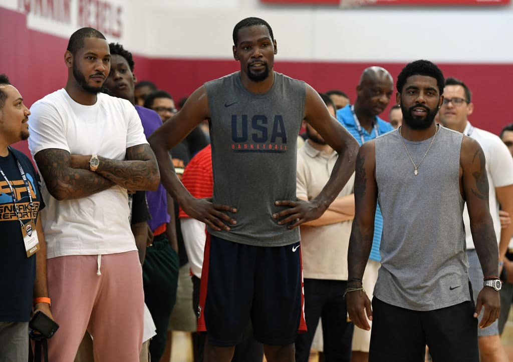 Kyrie Irving, Kevin Durant and Carmelo Anthony of Team USA