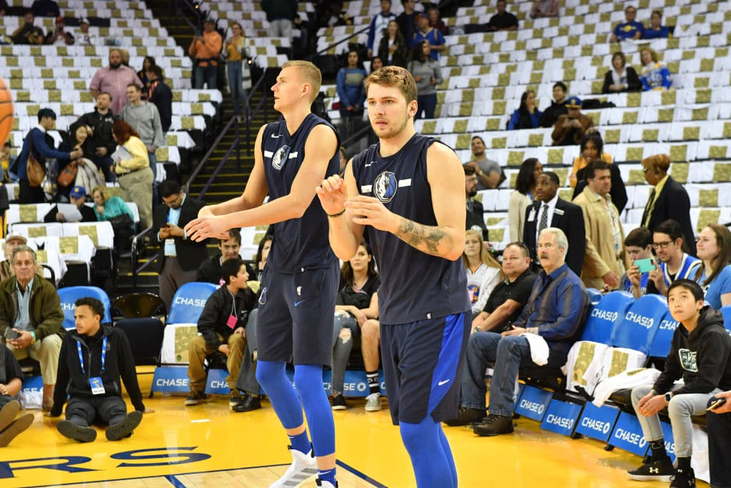 Luka Doncic and Kristaps Porzingis of the Dallas Mavericks