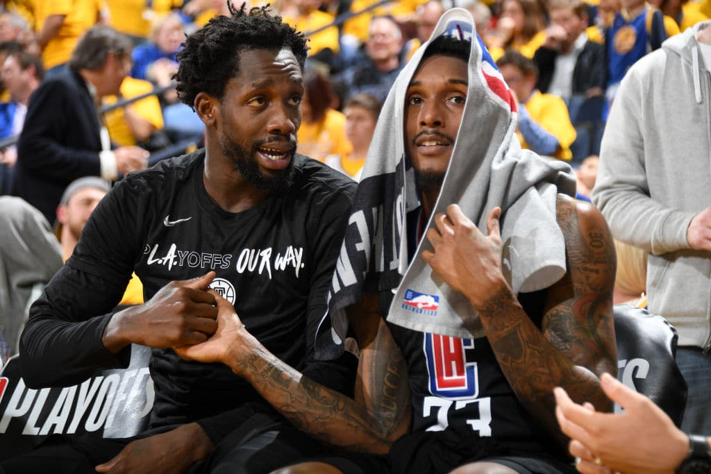 Lou Williams and Patrick Beverley of the Los Angeles Clippers
