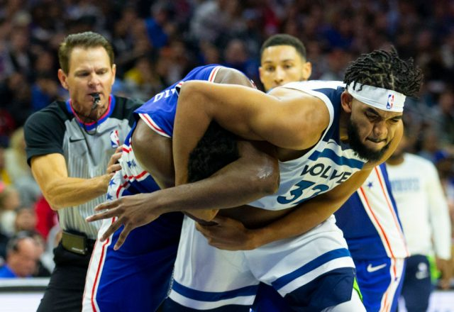 Karl-Anthony Towns of the Minnesota Timberwolves, Joel Embiid of the Philadelphia 76ers