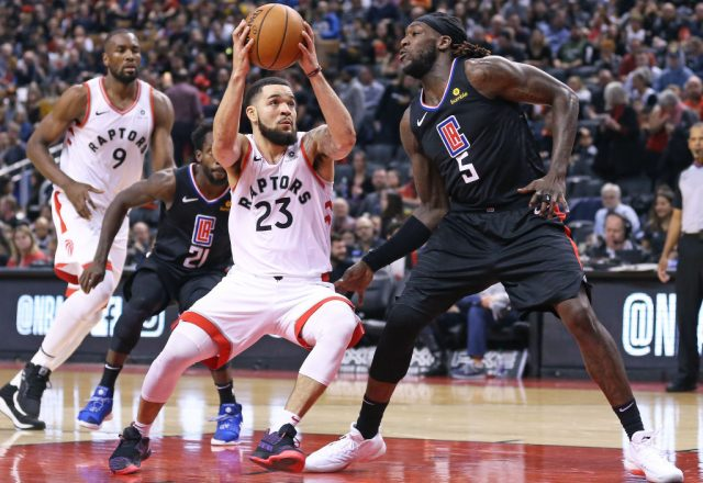 Fred VanVleet of the Toronto Raptors, Montrezl Harrell of the Los Angeles Clippers