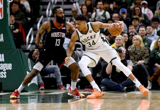 Giannis Antetokounmpo of the Milwaukee Bucks, James Harden of the Houston Rockets