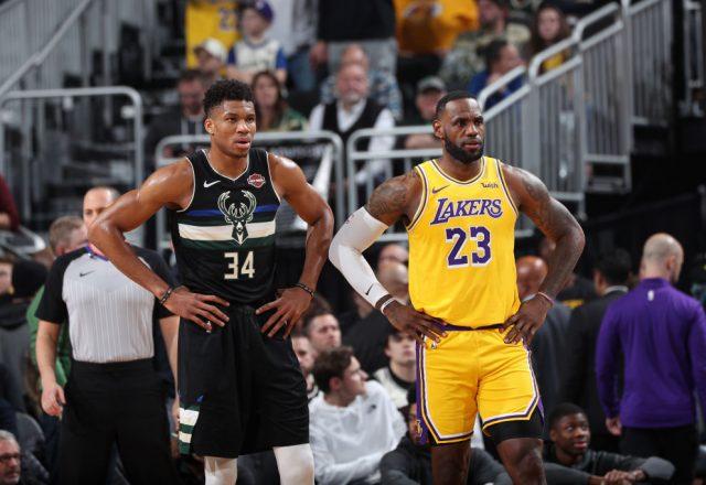 Giannis Antetokounmpo of the Milwaukee Bucks, LeBron James of the Los Angeles Lakers