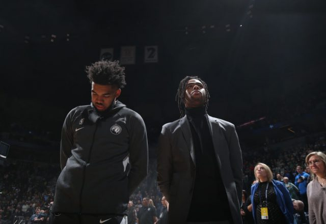 Karl-Anthony Towns and D'Angelos Russell of the Minnesota Timberwolves