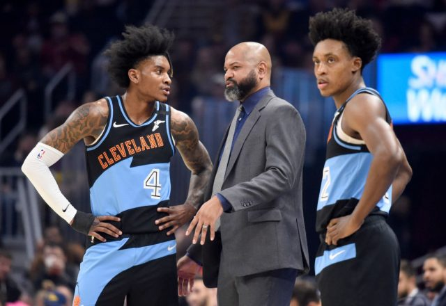 J.B. Bickerstaff, Kevin Porter Jr., Collin Sexton of the Cleveland Cavaliers