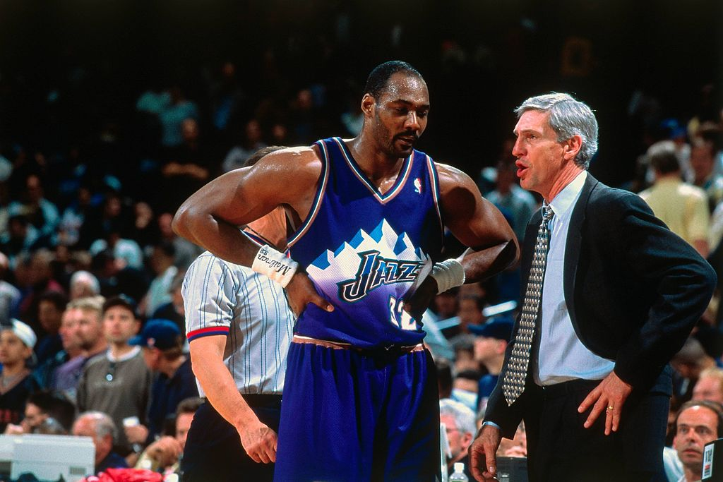 Jerry Sloan Karl Malone of the Utah Jazz