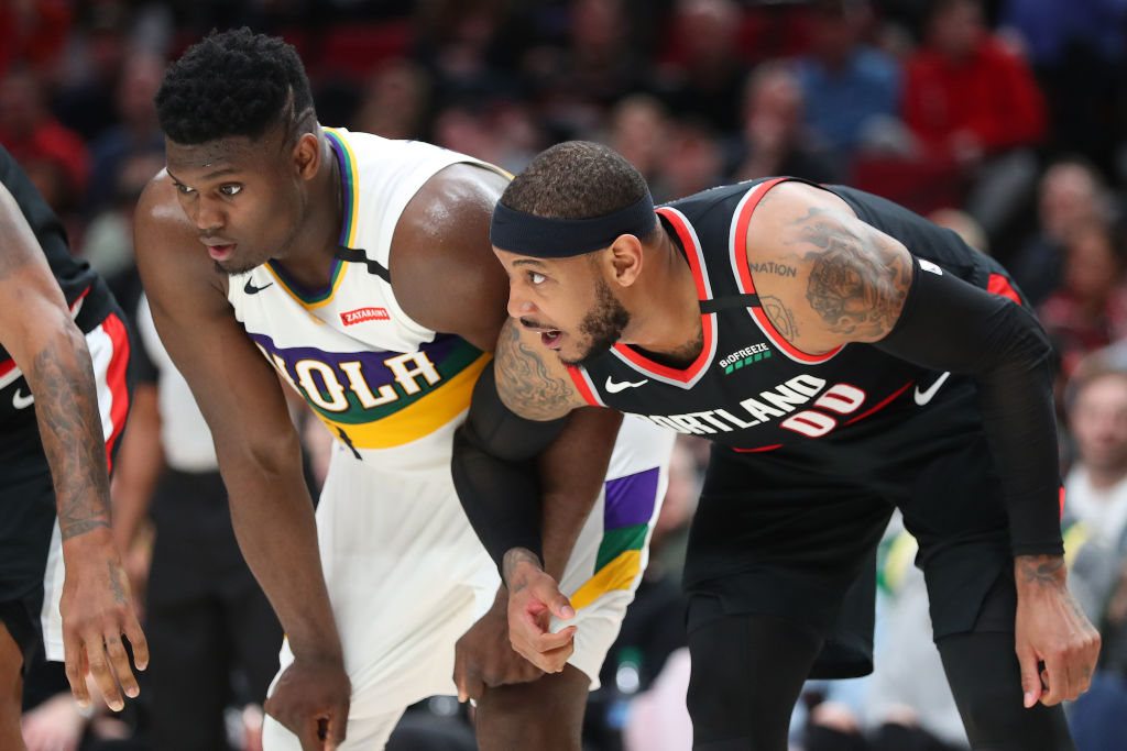 Zion Williamson of the New Orleans Pelicans, Carmelo Anthony of the Portland Trail Blazers
