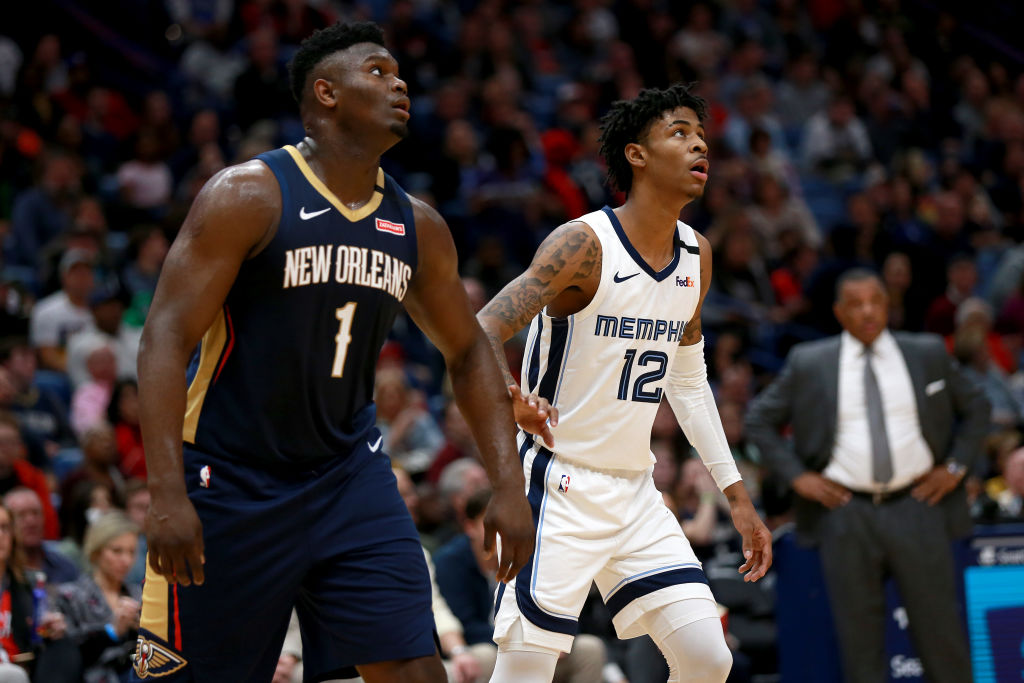 Zion Williamson of the New Orleans Pelicans, Ja Morant of the Memphis Grizzlies
