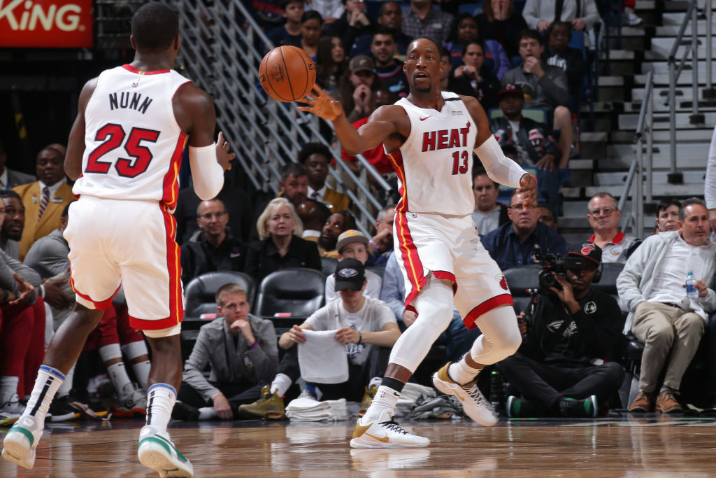Kendrick Nunn and Bam Adebayo of the Miami Heat