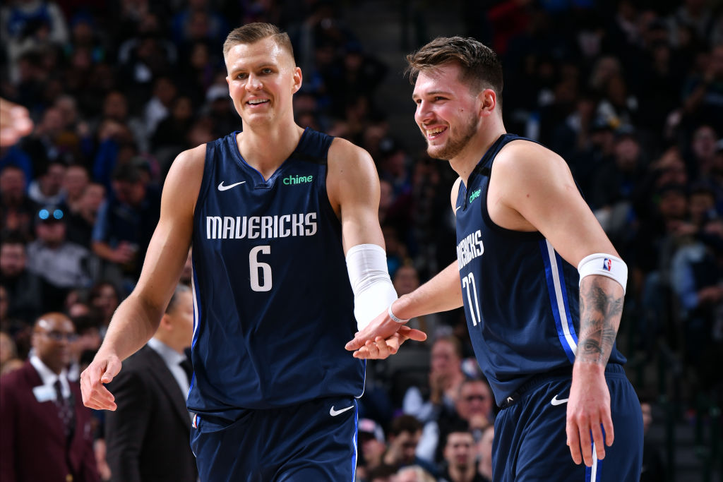 Kristaps Porzingis and Luka Doncic of the Dallas Mavericks