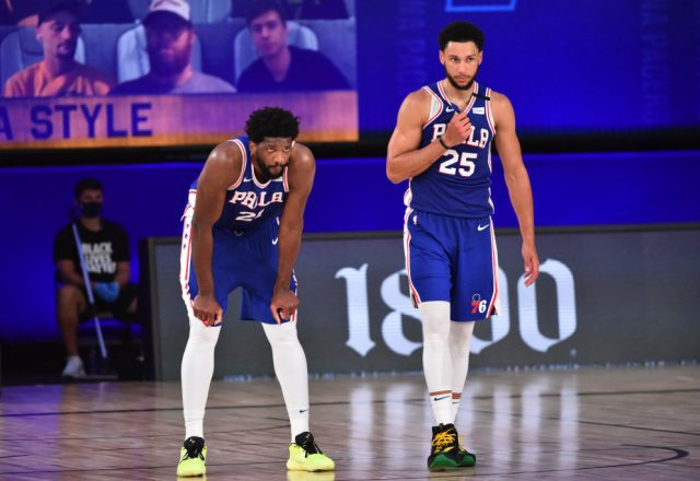 Joel Embiid and Ben Simmons of the Philadelphia 76ers