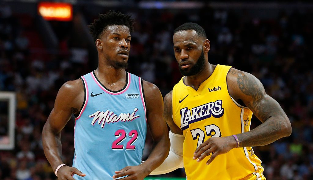 LeBron James of the Los Angeles Lakers and Jimmy Butler of the Miami Heat