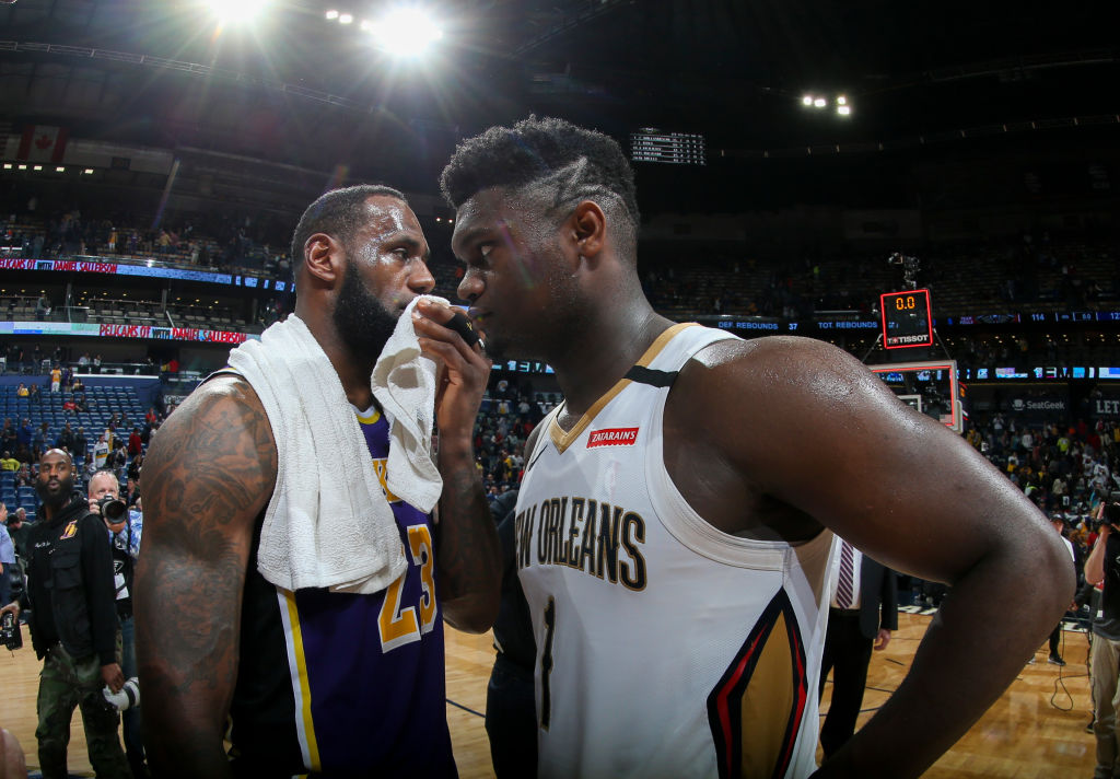 LeBron James of the Los Angeles Lakers, Zion Williamson of the New Orleans Pelicans