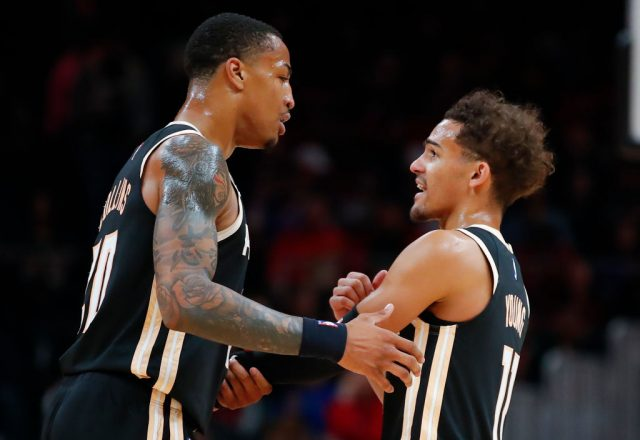 John Collins and Trae Young of the Atlanta Hawks