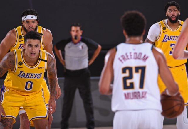Jamal Murray of the Denver Nuggets and Kyle Kuzma of the Los Angeles Lakers