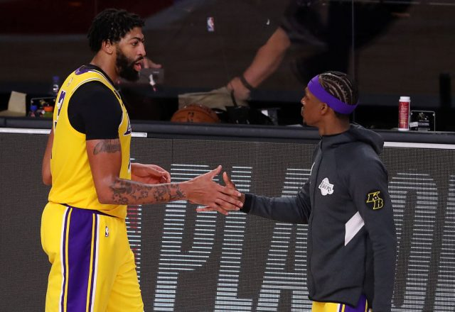 Anthony Davis and Rajon Rondo of the Los Angeles Lakers