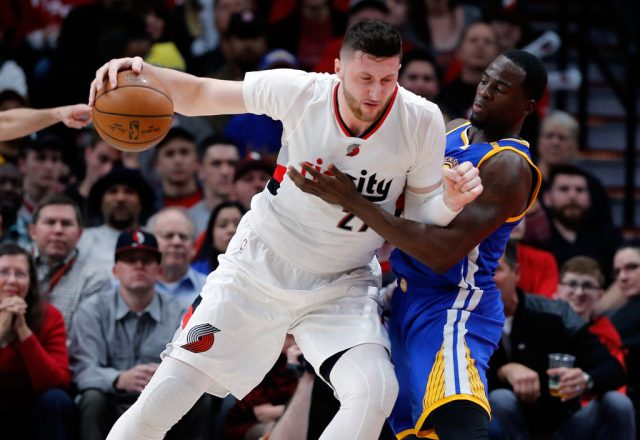 Jusuf Nurkic of the Portland Trail Blazers, Draymond Green of the Golden State Warriors