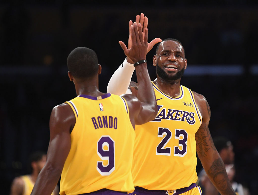 Rajon Rondo and LeBron James of the Los Angeles Lakers