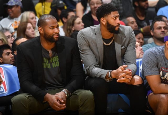 Anthony Davis and DeMarcus Cousins of the Los Angeles Lakers