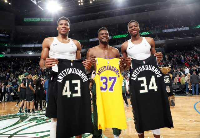 Giannis Antetokounmpo and Thanasis Antetokounmpo of the Milwaukee Bucks, Kostas Antetokounmpo of the Los Angeles Lakers