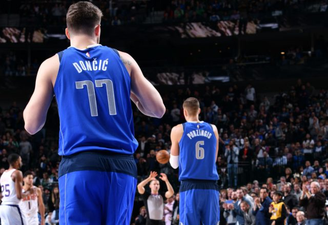 Luka Doncic, Kristaps Porzingis of the Dallas Mavericks