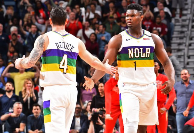 J.J. Redick and Zion Williamson of the New Orleans Pelicans