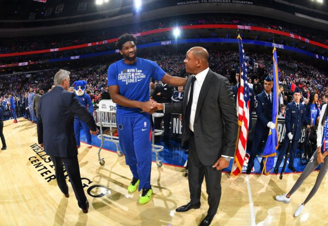 Doc Rivers and Joel Embiid of the Philadelphia 76ers