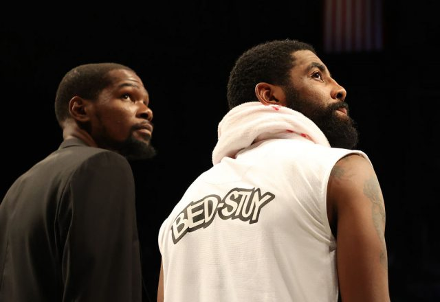Kevin Durant and Kyrie Irving of the Brooklyn Nets