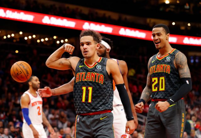 Trae Young and John Collins of the Atlanta Hawks