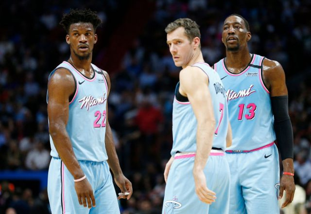 Jimmy Butler, Bam Adebayo, and Goran Dragic of the Miami Heat