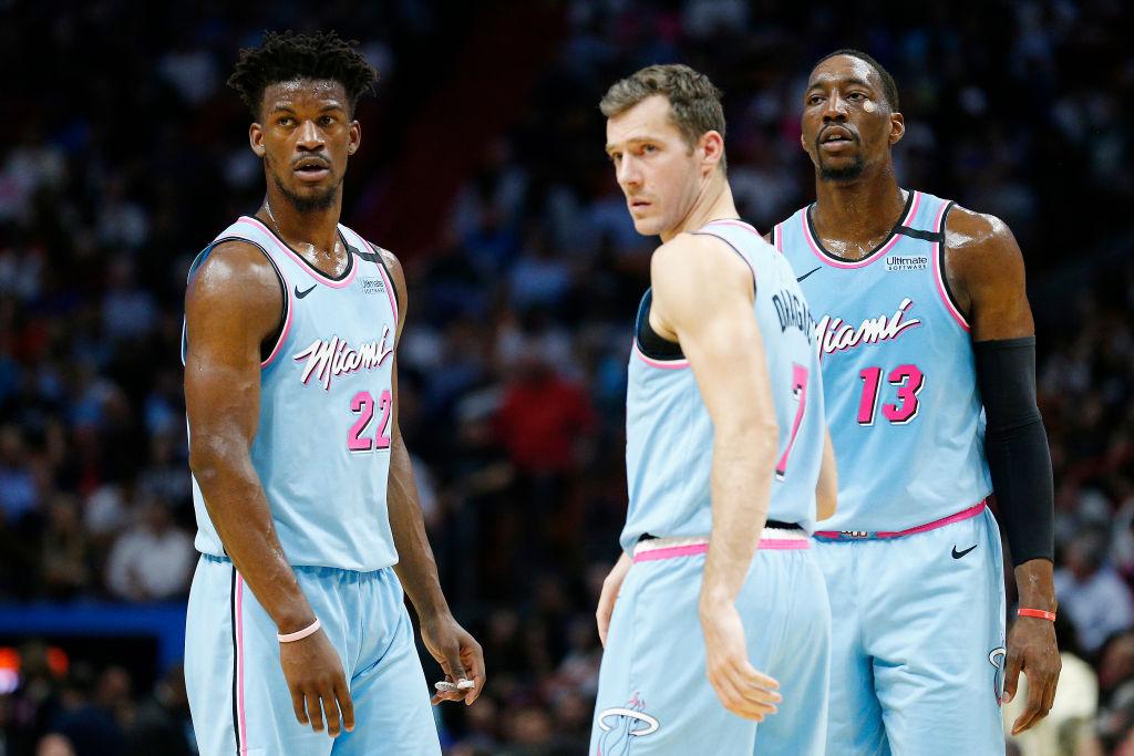 Jimmy Butler, Bam Adebayo, and Goran Dragic of the Miami Heat