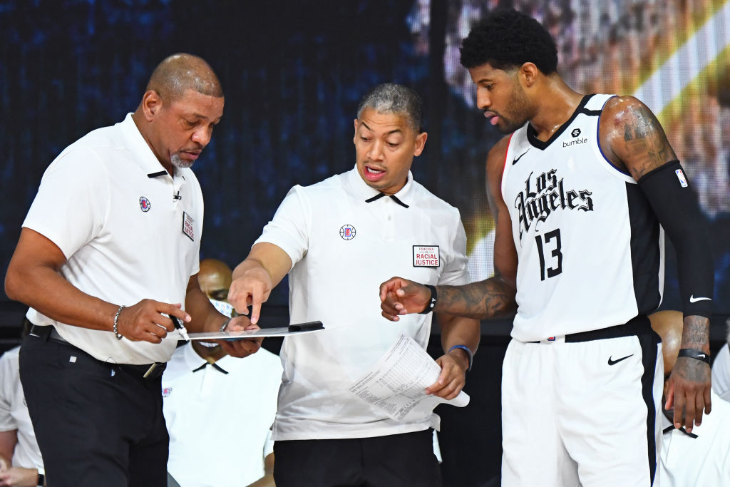 Doc Rivers, Ty Lue and Paul George of the Los Angeles Clippers