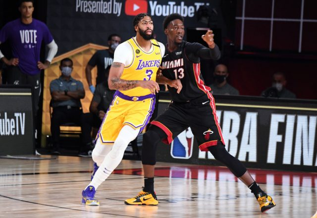 Anthony Davis of the Los Angeles Lakers and Bam Adebayo of the Miami Heat